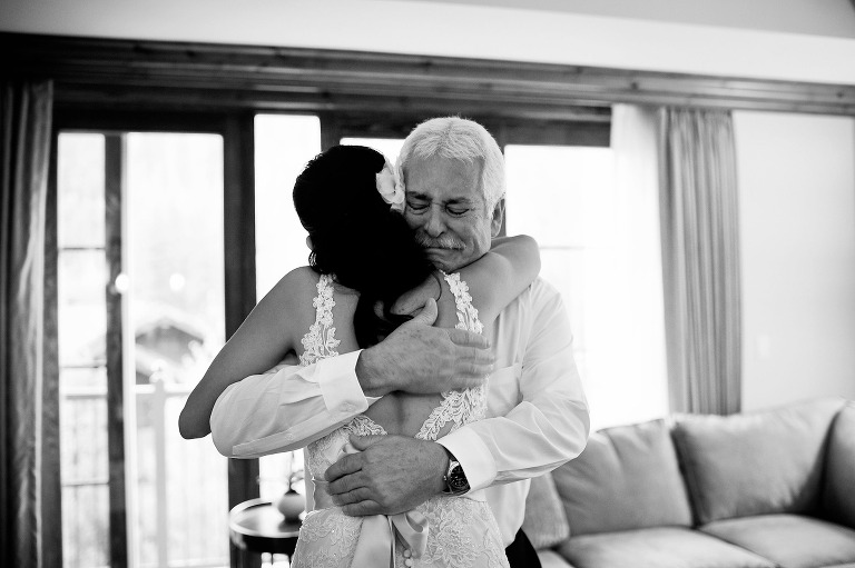Emotional wedding photography of a bride and her father in Vail, Colorado. www.TrueNorthPhotography.co Kira (Horvath) Vos